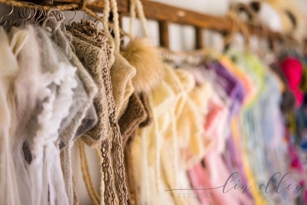 Hand Knit Newborn bonnets at Lin Ellen Studios