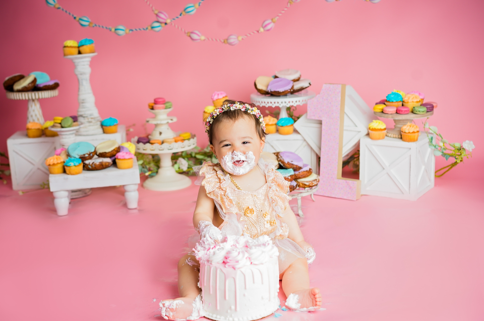 Baby Girl on Pink Milestone Cake Smash with Sweets
