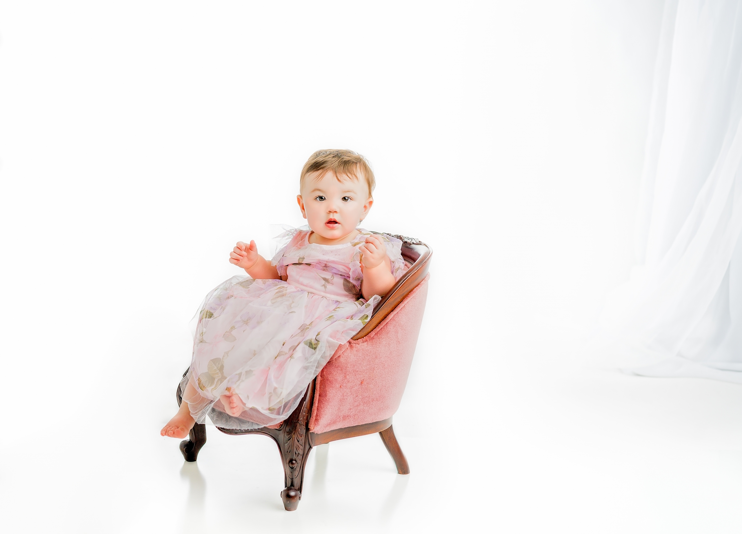 First Birthday Portrait - Baby in Pink Chair